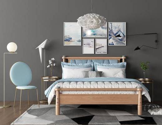 双人沙发, 单人椅, 落地灯, 装饰画, 照片墙, 壁灯, 床头柜, 吊灯, 摆件, 装饰品, 陈设品, 北欧