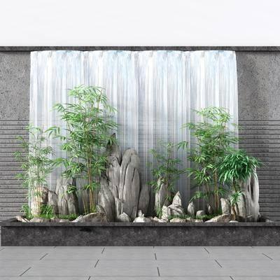 假山流水, 竹子流水, 景观流水墙, 流水景观, 鱼池, 水池, 景观小品, 新中式