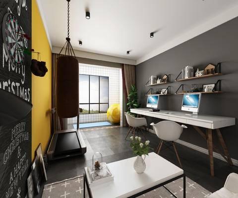 休闲室, 娱乐室, 书房, 跑步机, 拳击, 书桌椅组合, 置物架, 沙包