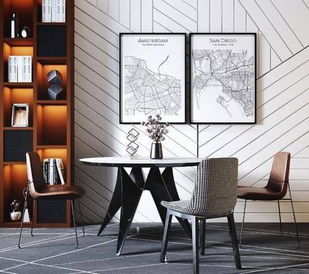圆形餐桌椅组合, 挂画组合, 现代轻奢