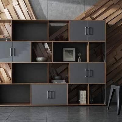 书柜, 书籍, 书本, 植物, 盆栽, 单椅, 现代