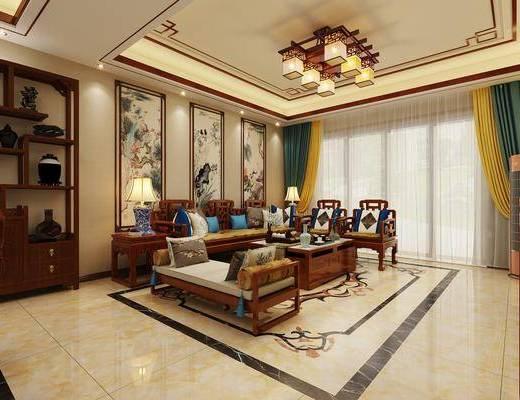 中式客厅, 中式沙发, 餐桌椅, 桌椅组合, 客餐厅