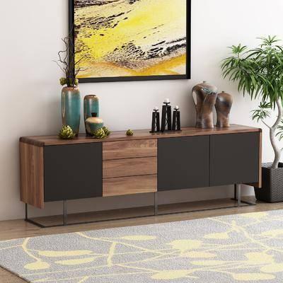 电视柜, 装饰柜, 盆栽, 装饰画, 挂画, 摆件, 装饰品, 陈设品, 边柜, 现代