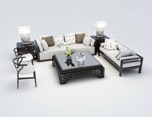 沙发组合, 多人沙发, 茶几, 双人沙发, 边几, 台灯, 单人椅, 中式