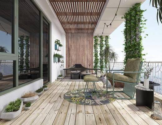 生活阳台, 休闲椅, 休闲凳, 盆栽, 绿植