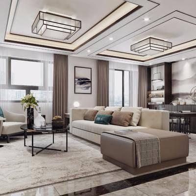 客厅, 餐厅, 客餐厅, 沙发组合, 多人沙发, 单人沙发, 餐桌椅, 桌椅组合, 吊灯