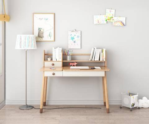 儿童书桌, 书桌, 书籍, 摆件组合, 挂画组合, 北欧