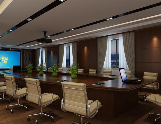 新中式, 会议室, 会议桌, 办公椅