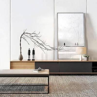 新中式, 电视柜, 装饰柜, 组合, 陈设品组合