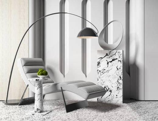 单椅, 休闲椅, 落地灯, 装饰品