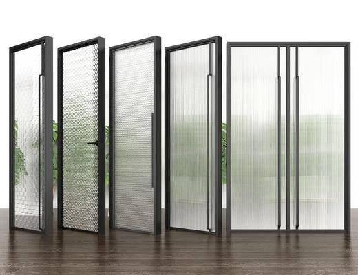 玻璃门, 单开门