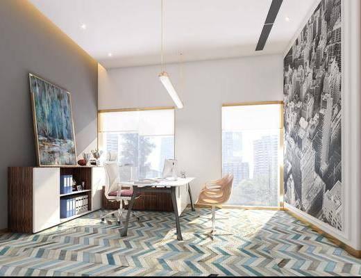 桌椅组合, 背景墙, 装饰画, 边柜
