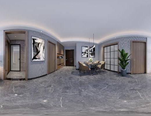 现代客餐厅, 客厅, 餐厅, 沙发组合, 沙发茶几组合, 餐桌椅组合, 餐具组合, 摆件组合, 盆栽绿植, 绿植植物, 挂画组合, 吊灯组合, 家装全景