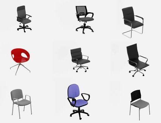 现代, 办公室, 椅子, 单椅, 单体