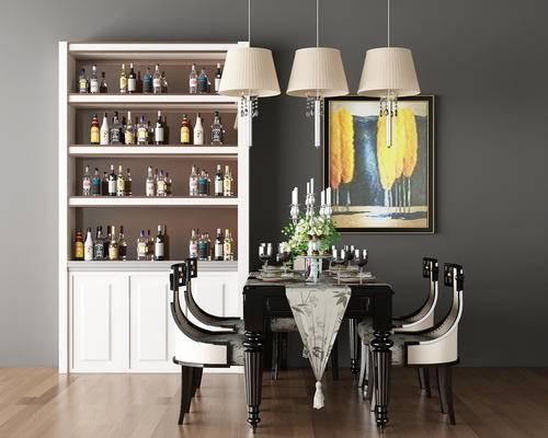 餐桌, 椅子, 单椅, 餐具, 摆件, 花瓶, 花卉, 吊灯, 挂画, 装饰画, 酒柜, 酒瓶, 装饰品, 后现代