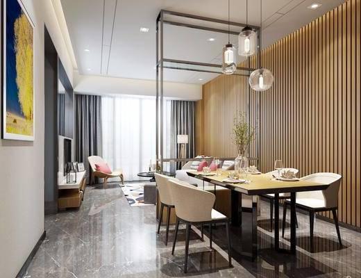 现代客餐厅, 现代, 客厅, 餐桌, 餐厅, 吊灯, 椅子