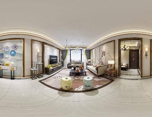 客厅, 沙发组合, 沙发茶几组合, 新中式, 多人沙发, 凳子, 地毯, 茶几, 端景台, 电视柜