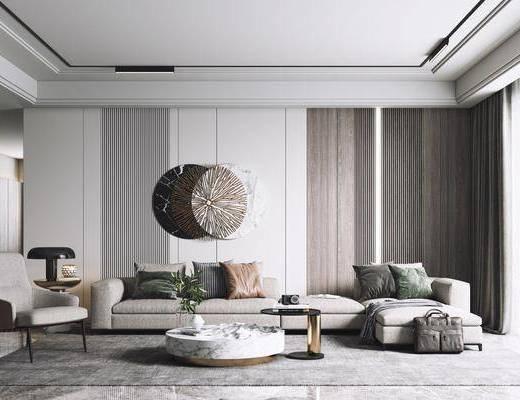 现代客厅, 现代沙发茶几组合, 沙发组合, 沙发茶几组合