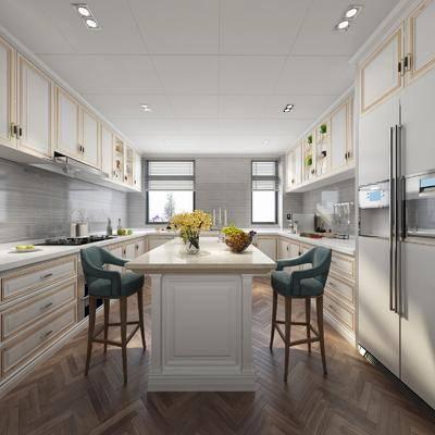 厨房, 橱柜, 厨具, 单人椅, 吧台, 吧椅, 洗手台, 欧式