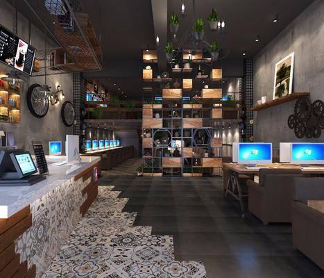 网吧网咖, 电脑, 前台, 吊灯, 单人沙发, 装饰柜, 盆栽, 摆件, 装饰品, 陈设品, 墙饰, 绿植植物, 工业风