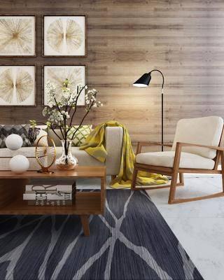 多人沙发, 单人沙发, 茶几, 落地灯, 装饰画, 挂画, 照片墙, 北欧