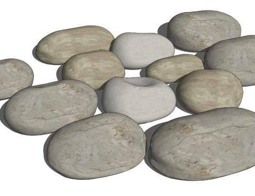 现代, 景观, 组合, 鹅卵石