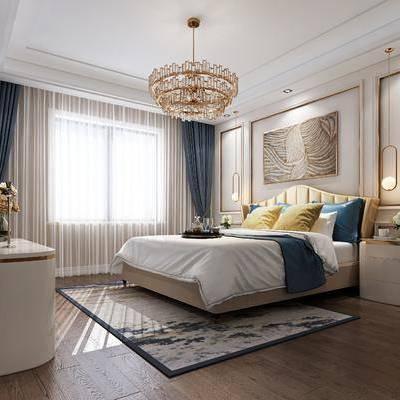 卧室, 双人床, 边几, 装饰画, 挂画, 边柜, 吊灯, 后现代