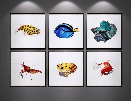 挂画, 儿童房装饰画, 鱼装饰画, 水生动物装饰画