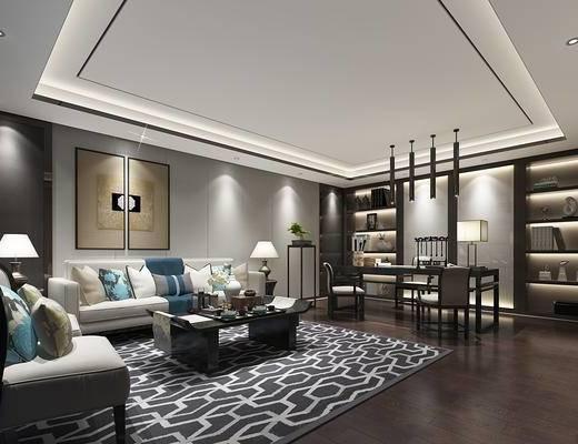 沙发组合, 吊灯, 台灯, 茶几, 电视柜, 装饰品, 窗帘, 地毯