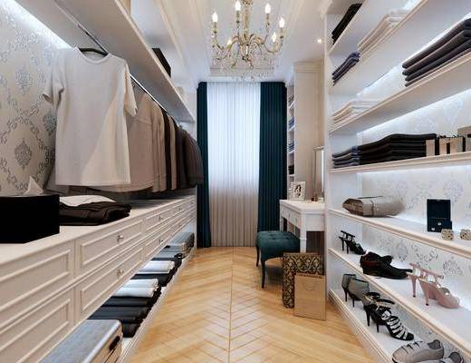 衣帽间, 衣柜, 装饰柜, 服饰摆件, 吊灯, 欧式