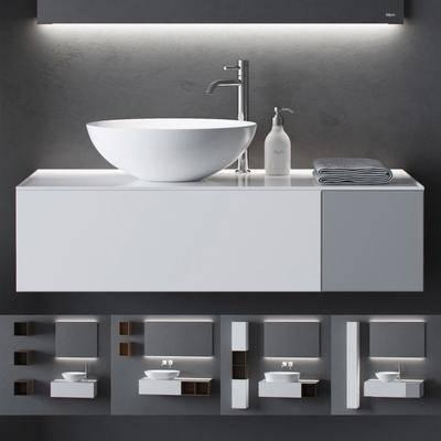 洗手台柜, 毛巾浴架, 浴镜, 现代