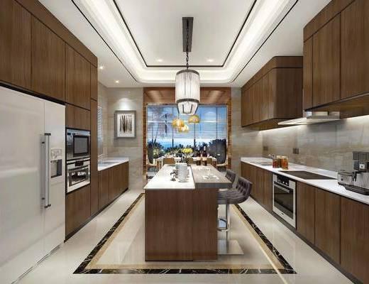 厨房, 橱柜, 装饰柜, 冰箱, 吊灯, 单人椅, 装饰画, 挂画, 餐具, 摆件, 装饰品, 陈设品, 中式