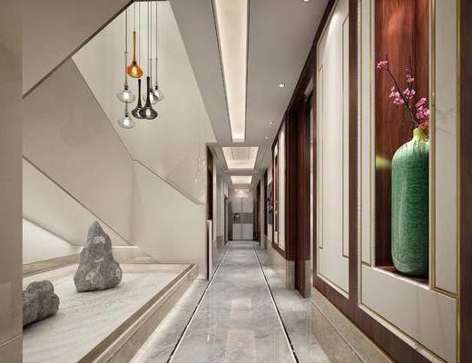 走廊过道, 吊灯, 景观小品, 楼梯间