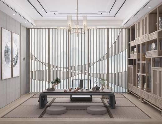 茶室, 桌椅组合, 吊灯, 装饰画, 置物柜