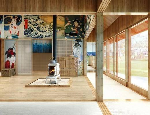 休闲区, 边柜, 盆栽, 花卉, 壁画, 绿植植物, 日式