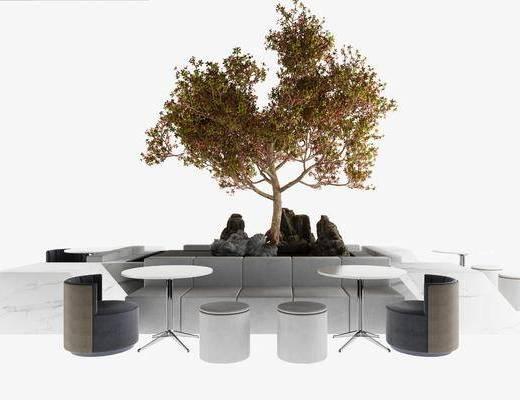 现代装饰树, 假山石头