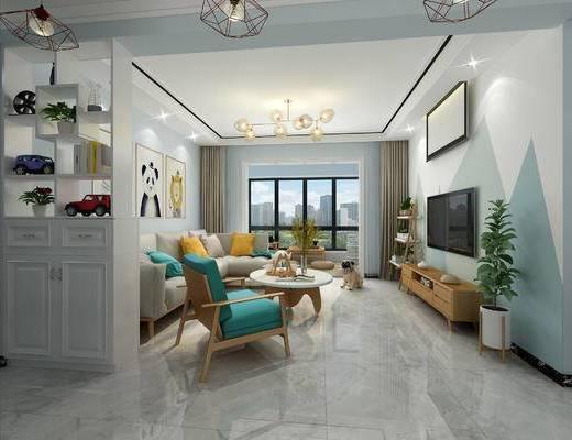 北欧, 客厅, 餐厅, 置物柜, 玄关柜, 装饰柜, 沙发, 茶几, 植物, 餐桌椅, 卡座, 杂志柜
