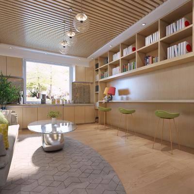 茶水间, 沙发组合, 装饰画, 桌椅组合, 置物架