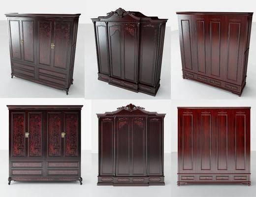 红木衣柜, 装饰柜, 中式