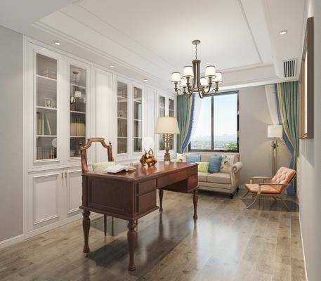 书房, 多人沙发, 书桌, 单人椅, 装饰柜, 台灯, 落地灯, 装饰画, 挂画, 书籍, 装饰品, 陈设品, 双人沙发, 美式