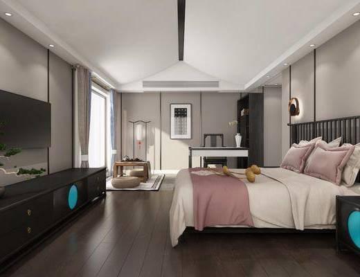 民宿宾馆, 酒店客房, 双人床, 床头柜, 壁灯, 边柜, 书桌, 单人椅, 茶几, 茶具, 书柜, 书籍, 落地灯, 新中式