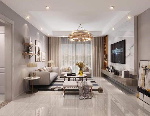 现代客厅, 餐厅, 石材背景墙, 沙发