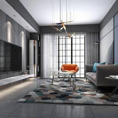 客厅, 多人沙发, 布艺沙发, 茶几, 单人沙发, 边几, 壁灯, 吊灯, 摆件, 装饰品, 书桌, 书架, 现代