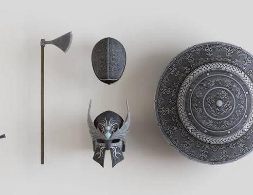 武器盔甲, 金属剑盾, 斧头盔, 现代