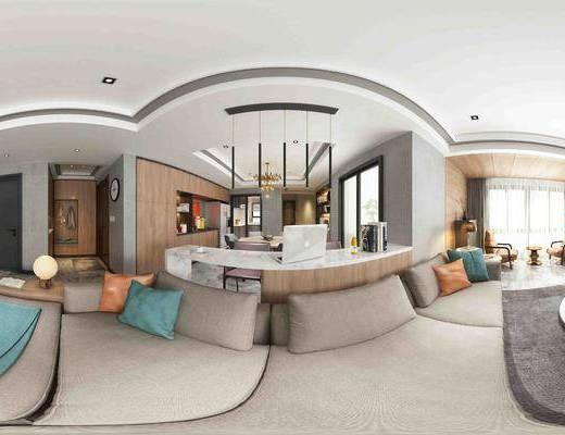 客厅, 现代, 沙发, 茶几, 多人沙发, 单人沙发, 边柜, 吊灯