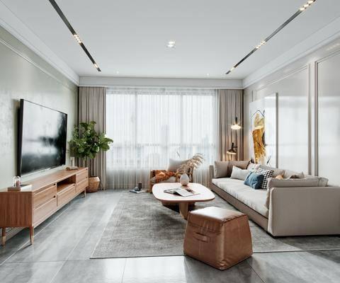沙发组合, 茶几, 抱枕, 电视柜, 窗帘, 植物, 装饰画
