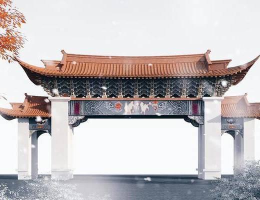 中式牌门, 牌坊, 园林景观小品, 石雕