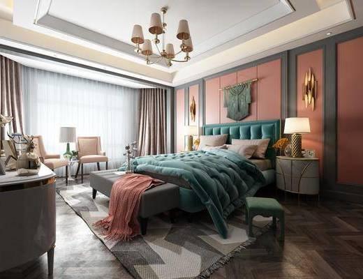卧室, 双人床, 床尾凳, 床头柜, 台灯, 壁灯, 墙饰, 边柜, 装饰柜, 凳子, 单人椅, 吊灯, 简欧