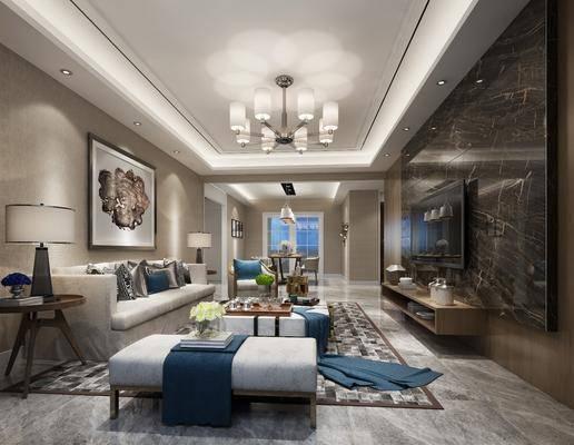 现代客厅, 现代, 客厅, 布艺沙发, 现代吊灯, 花瓶, 台灯