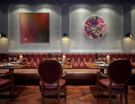 餐厅, 卡座, 椅子, 餐桌, 新古典, 美式